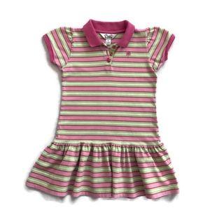 Lilly Pulitzer Girls 6X Pink Stripe Polo Dress